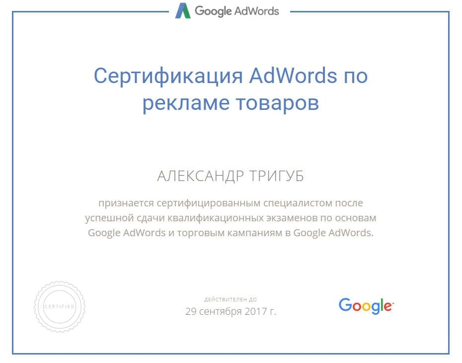 Сертификат Александра Тригуб по Google Adwords