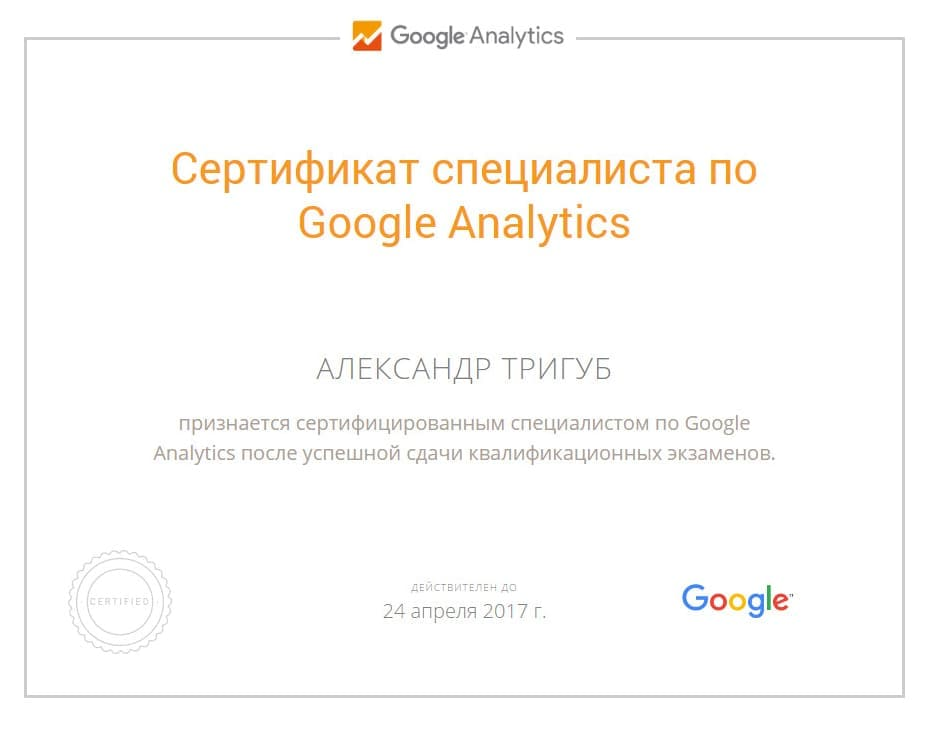 Сертификат Александра Тригуб по Google Analytics