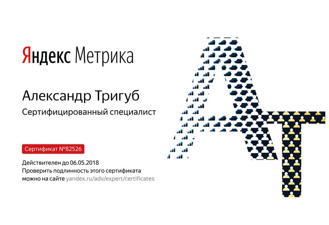Сертификат Александра Тригуб по Яндекс Метрике